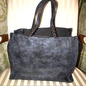 C Label Slate Blue Silver Hardware Satchel Bag